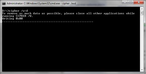 Ukaz cipher za trajno brisanje podatkov z diska (wipe)