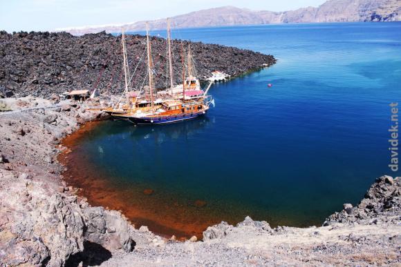 Otok Santorini: vulkan in kopno